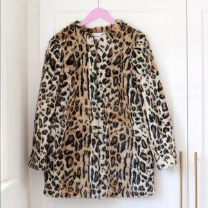 Cupcakes & Cashmere Faux Fur Leopard Coat
